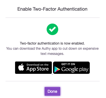 Two Factor Authentication Confirmation