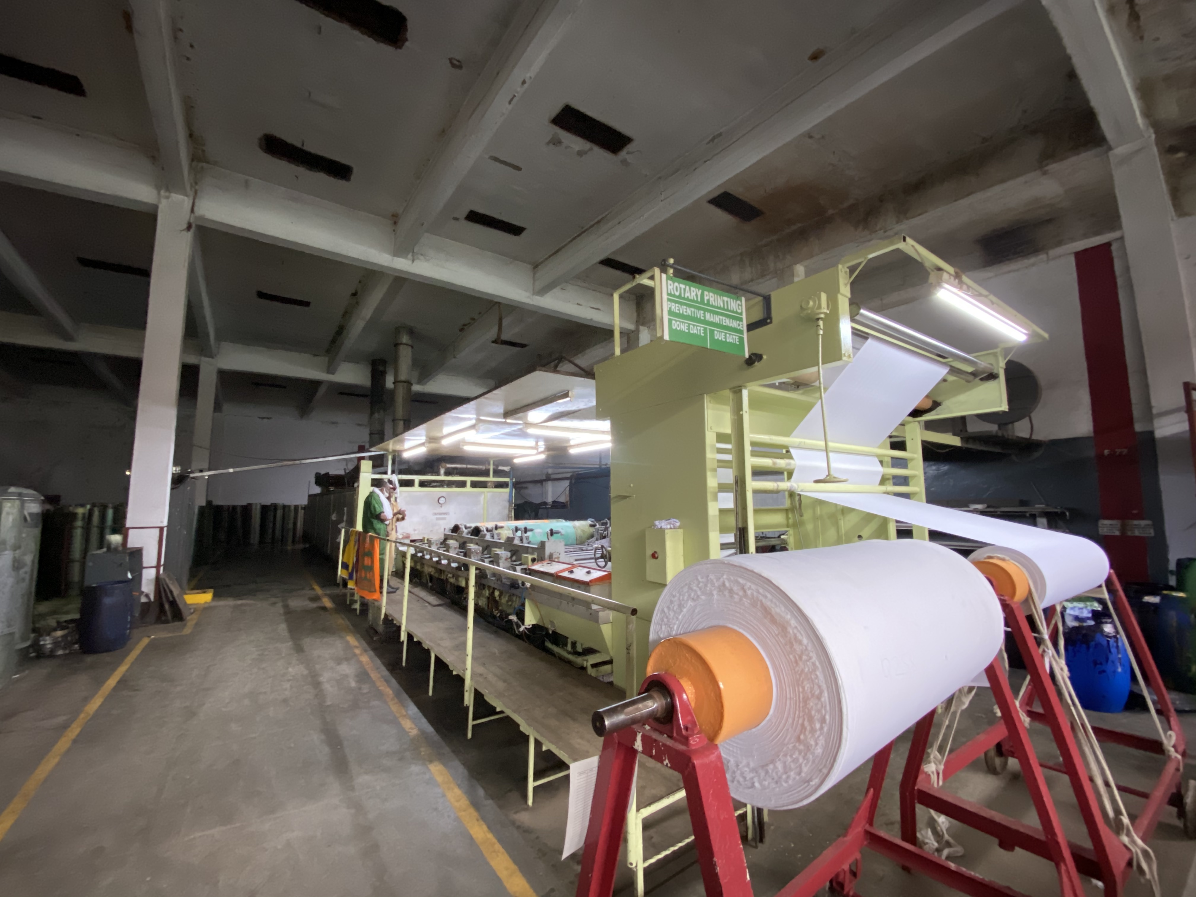 The cloth is processed, bleached, stretched, and dried.